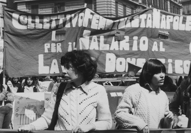 A May Day demonstration in Naples. From left: Mariarosa Dalla Costa, Leopoldina Fortunati.