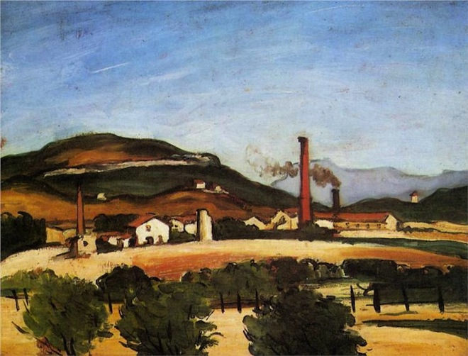 Paul Cezanne | Factories Near Mont de Cengle (1870)