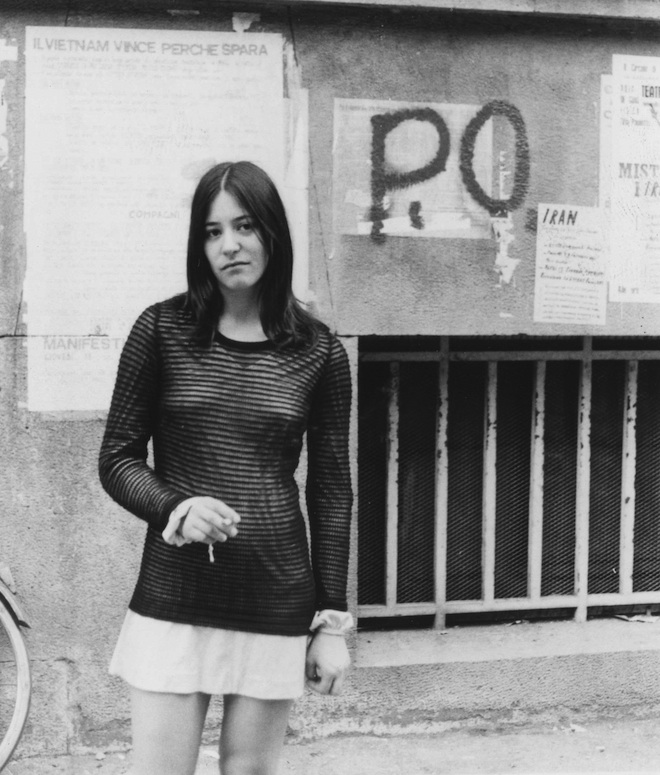 The author standing in front of Potere Operaio graffiti, June 1972.