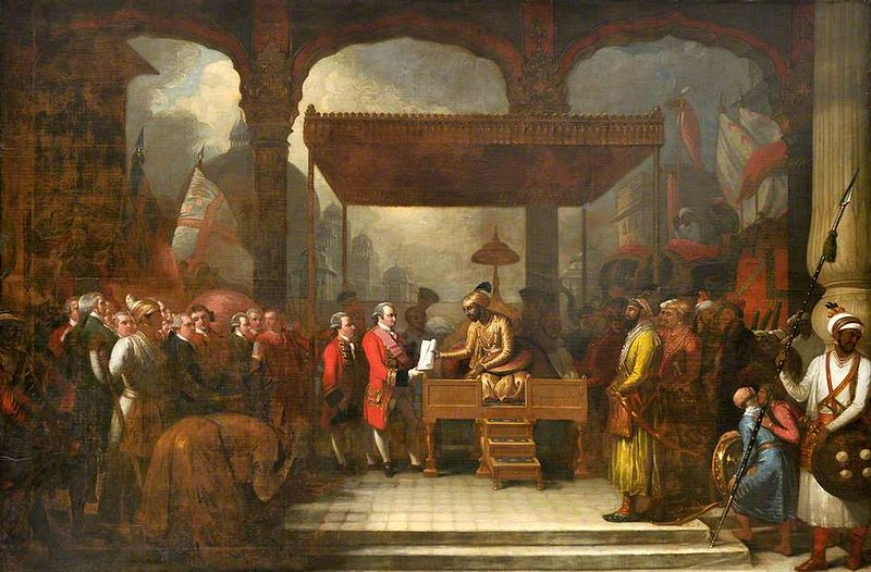 Shah 'Alam, Mughal Emperor (1759–1806), Conveying the Grant of the Diwani to Lord Clive, August 1765 (Benjamin West, 1818)
