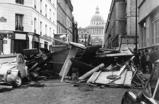 Barricade on rue d'Ulm, in front of the École normale supérieur, May 1968.