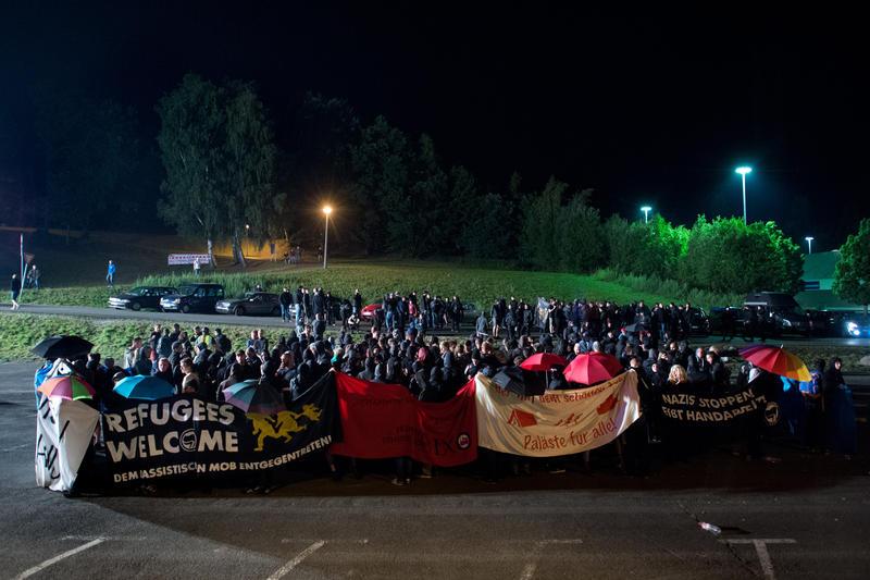 Counter demonstration at Heidenau, Germany