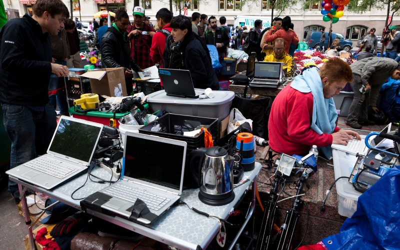 Internet station at Occupy Wall Street.