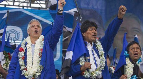 Evo Morales and Garciìa Linera
