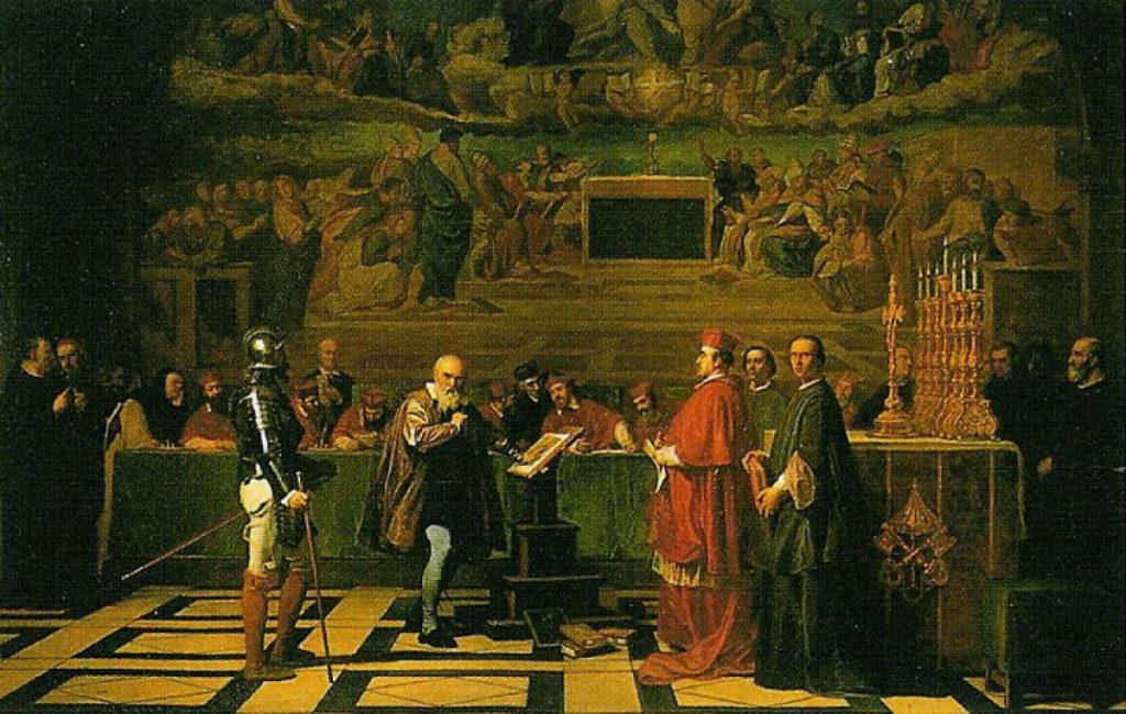 Joseph Nicolaus Robert-Fleury, Galileo Galilei before the Holy Office in the Vatican, 1847