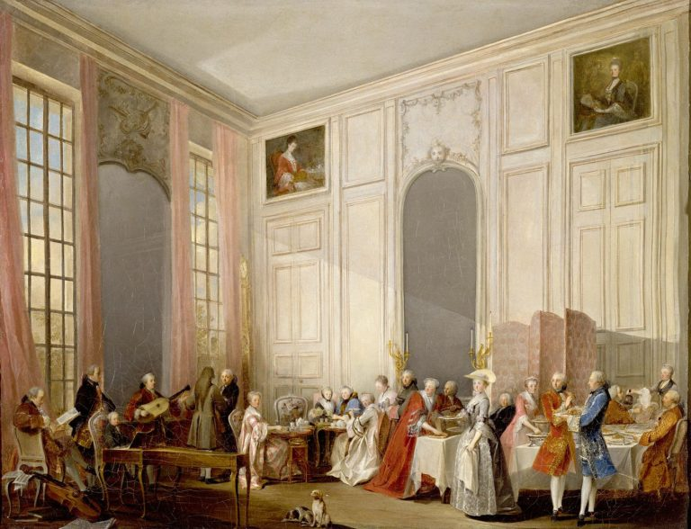 Le Thé à l'anglaise servi dans le salon des Quatre-Glaces au palais du Temple à Paris en 1764