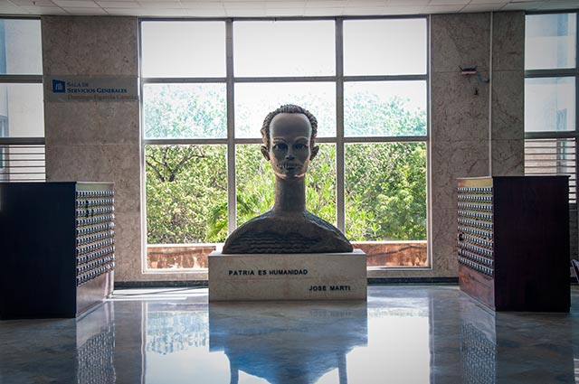 Statue of José Martí in the National Library in Havana.